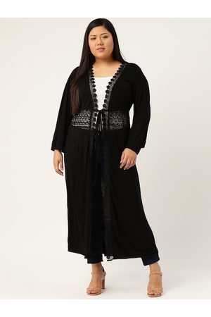 Revolution Women Black Plus Size Solid Longline Tie-Up Shrug with Lace Inserts Detail