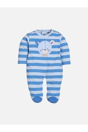 BABY GO Infant Boys Blue Striped Sleepsuit