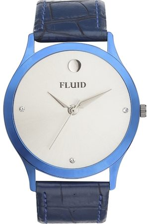 FLUID Men Blue & White Leather Analogue Watch FL-788G-WH01