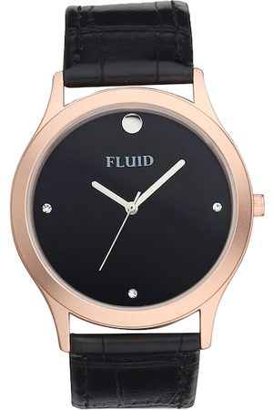 FLUID Men Black Leather Analogue Watch FL-784G-BK01