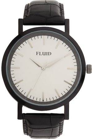 FLUID Men Black & White Leather Analogue Watch FL-803G-WH01