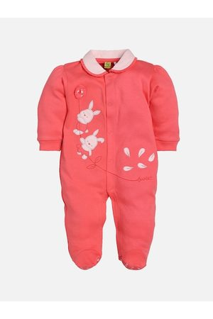 BABY GO Infant Girls Coral Red & White Embroidered Sleepsuit