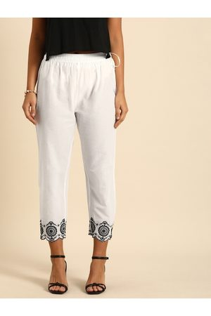 Varanga Women White Regular Fit Solid Cigarette Trousers with Embroidery