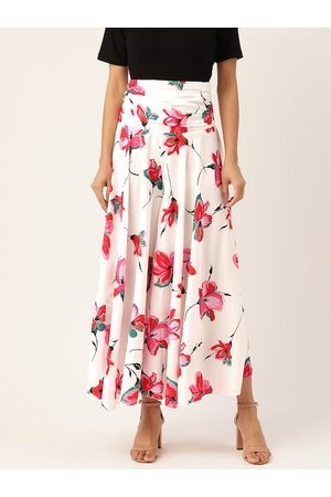 Trend Arrest Women White & Pink Floral Print Flared Palazzos