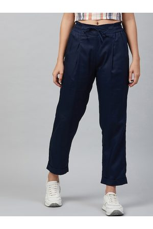 marie claire Women Navy Blue Regular Fit Solid Viscose Rayon Trousers