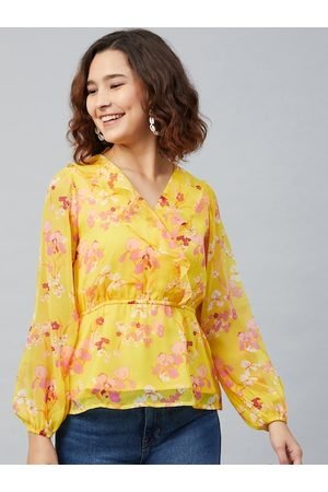 Rare Fashion Women Yellow Floral Printed Puff Sleeves Chiffon Cinched Waist Top