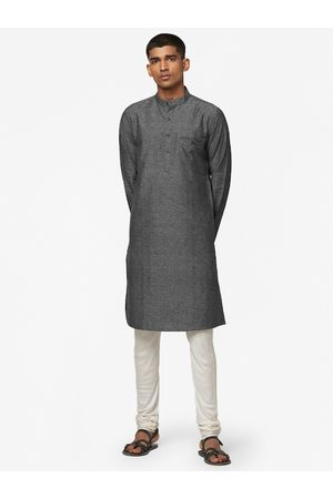 Fab India Men Charcoal Grey Slim Fit Cotton Slub Woven Design Straight Kurta