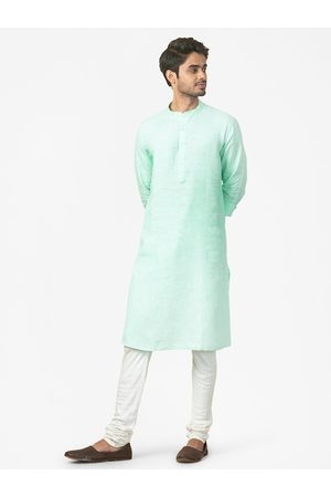 Fab India Men Blue Dobby Weave Linen Slim Fit Straight Kurta