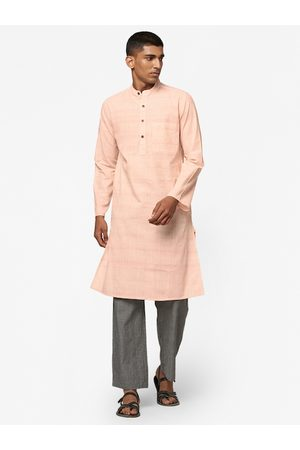 Fab India Men Cream-Coloured & Red Slim Fit Woven-Design Straight Kurta