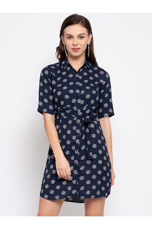 Style Quotient Women Navy Blue Printed Shirt Dress