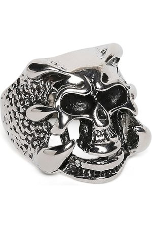 OOMPH Men Silver-Plated Vintage Gothic Skull Claw Biker Handcrafted Finger Ring