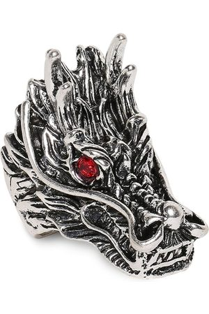 OOMPH Men Silver-Plated Red Stone-Studded Vintage Gothic Dragon Head Finger Ring