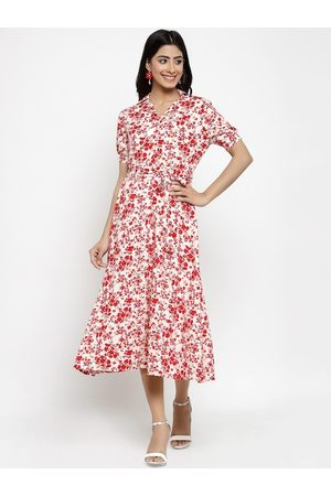Style Quotient Women Off-White & Red Floral Printed Shirt Dress