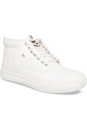 British Knights Men White Solid Synthetic Leather Mid-Top Sneakers