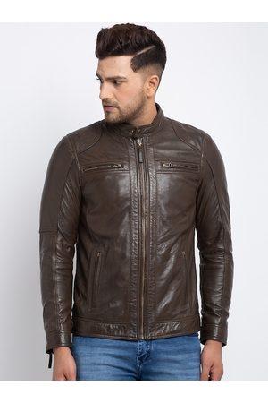 Teakwood Leathers Men Brown Solid Lightweight Leather Jacket