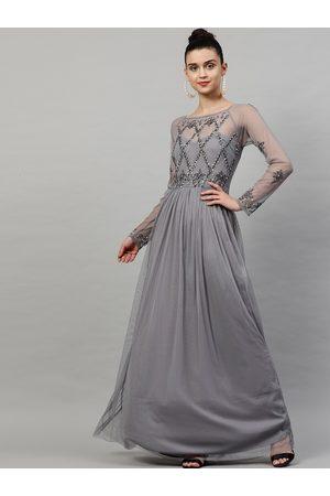 STREET 9 Women Grey Embellished Maxi Dress