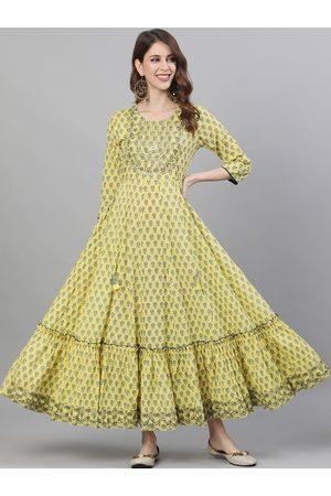 Ishin Women Yellow Printed Maxi Dress