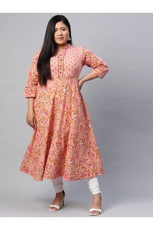 Yash Gallery Women Plus Size Peach-Coloured Ethnic Motifs Printed Kurta