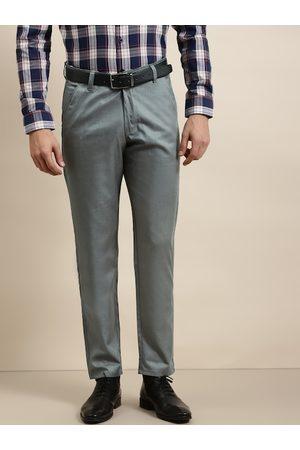 SOJANYA Men Grey Solid Smart Regular Fit Regular Formal Trousers