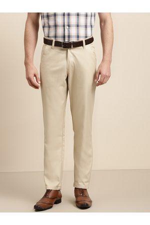 SOJANYA Men Beige Solid Smart Regular Fit Formal Trousers