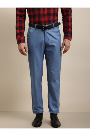 SOJANYA Men Blue Smart Regular Fit Solid Formal Trousers