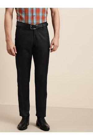 SOJANYA Men Black Solid Smart Regular Fit Formal Trousers