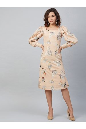 Rare Fashion Women Beige Floral Printed A-Line Dress