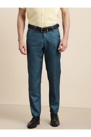 SOJANYA Men Teal Blue Solid Smart Regular Fit Formal Trousers