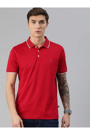 Nautica Men Red Solid Pure Cotton Polo Collar T-shirt