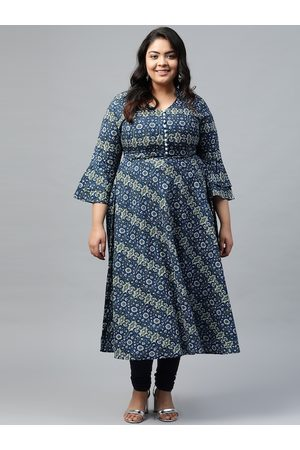 Yash Gallery Women Plus Size Navy Blue & Green Ethnic Motifs Printed Anarkali Kurta