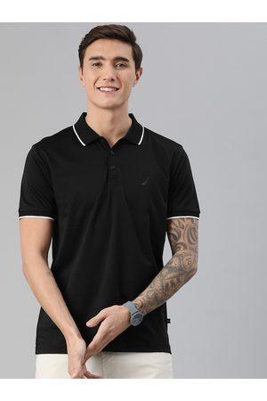 Nautica Men Black Pure Cotton Solid Polo Collar T-shirt