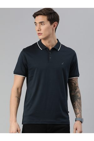 Nautica Men Navy Blue Pure Cotton Solid Polo Collar T-shirt