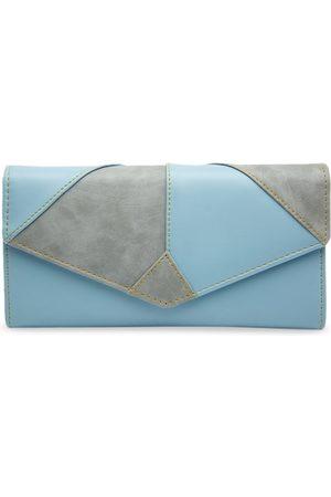 Butterflies Women Grey & Blue Colourblocked Envelope Wallet