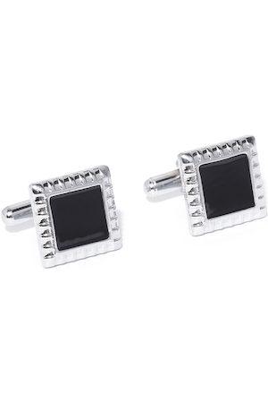 YouBella Black Silver-Plated Square Cufflinks