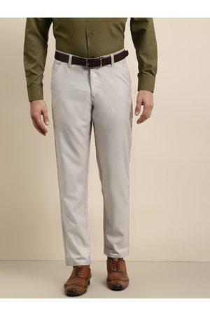 SOJANYA Men Grey Smart Regular Fit Solid Formal Trousers