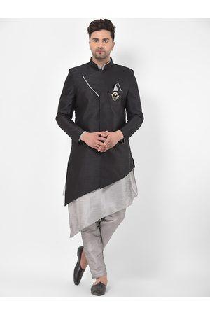 SG RAJASAHAB Men Black & Grey Solid Raw Silk Sherwani Set
