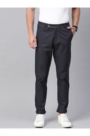 Hubberholme Men Navy Blue Slim Fit Solid Chinos