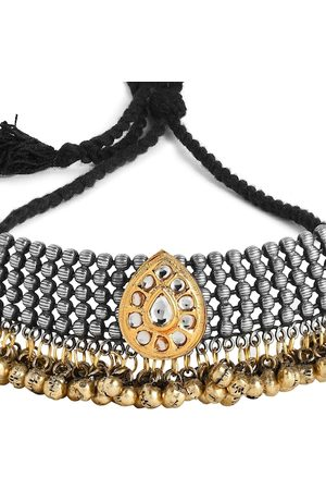 Rubans Women Oxidised Silver Plated Handcrafted Kundan with Gold Ghungru Choker