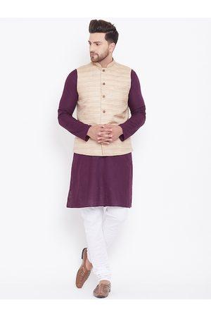 Vastramay Men Purple & White Solid Kurta with Pyjamas & Nehru Jacket