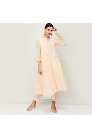 Melange Women Embroidered Kurta with Solid Straight Pants and Dupatta