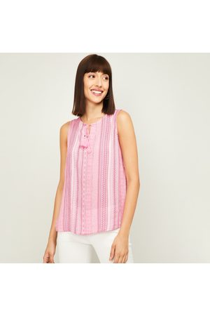 Fame Forever Women Striped Tie-Up Neck Top