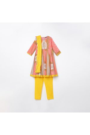 Melange Girls Printed A-Line Kurta with Solid Churidar and Dupatta