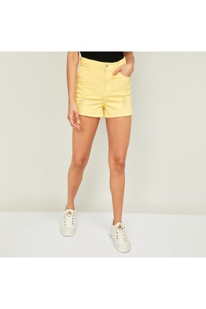 Ginger Women Solid Distressed Shorts