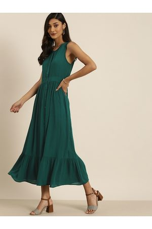 all about you Women Teal Green Solid A-Line Dress