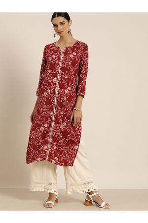 all about you Women Red & Off-White Printed Kurta with Palazzos