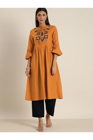 all about you Women Rust Orange Embroidered Yoke Design A-line Kurta