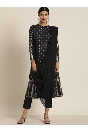 all about you Women Black & Gold-Coloured Printed Kurta Set with Attached Dupatta