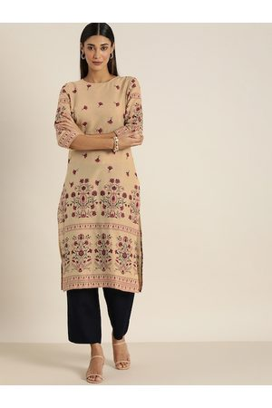 all about you Women Beige Floral Printed Pure Cotton Kurta