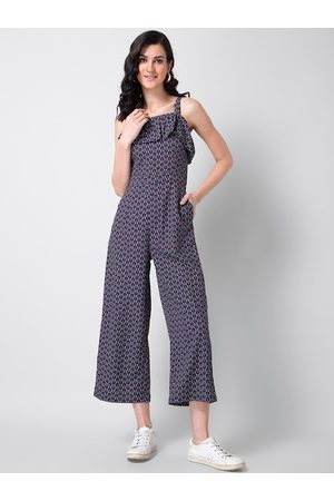 FabAlley Women Purple Printed Basic Jumpsuit