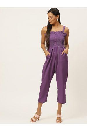 U&F Women Purple Self Design Smocked Capri Jumpsuit